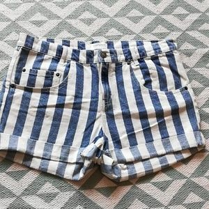 Forever 21 Conductor Striped Denim Shorts Sz 30